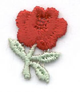 Embroidered Rose Applique - On Sheets of 25 (no cards)