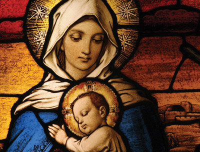 Christmas Card - Madonna and Child Stained Glass - Pack of 10