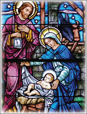 Christmas Card - Holy Family Stained Glass - Pack of 10