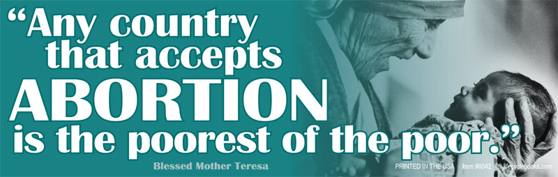 Bumper Sticker - Any Country That Accepts Abortion - Mother Teresa