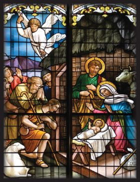 Christmas Card - Stained Glass Nativity - Pack of 10