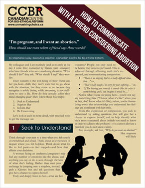 Brochure - How to Communicate With A Friend Considering Abortion