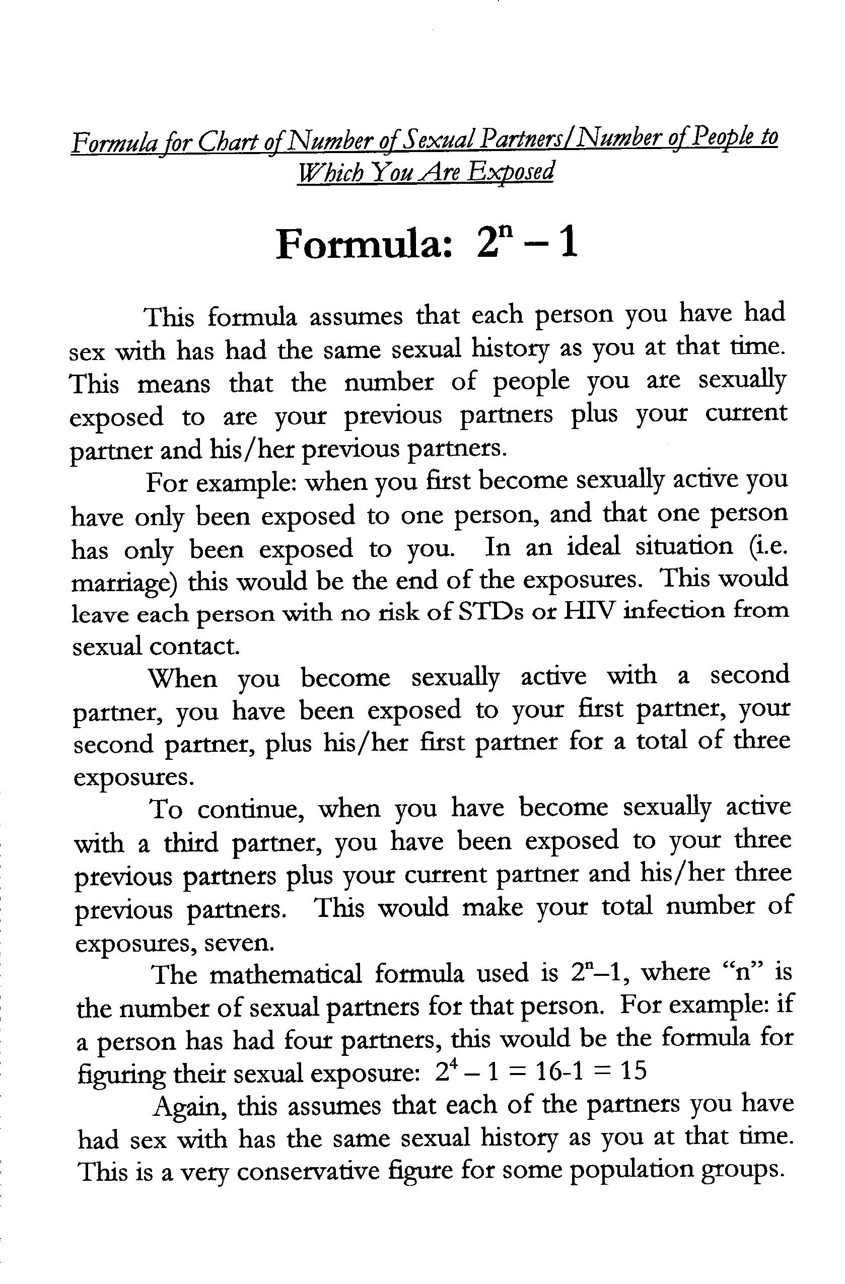 Sexual Exposure Chart Formula